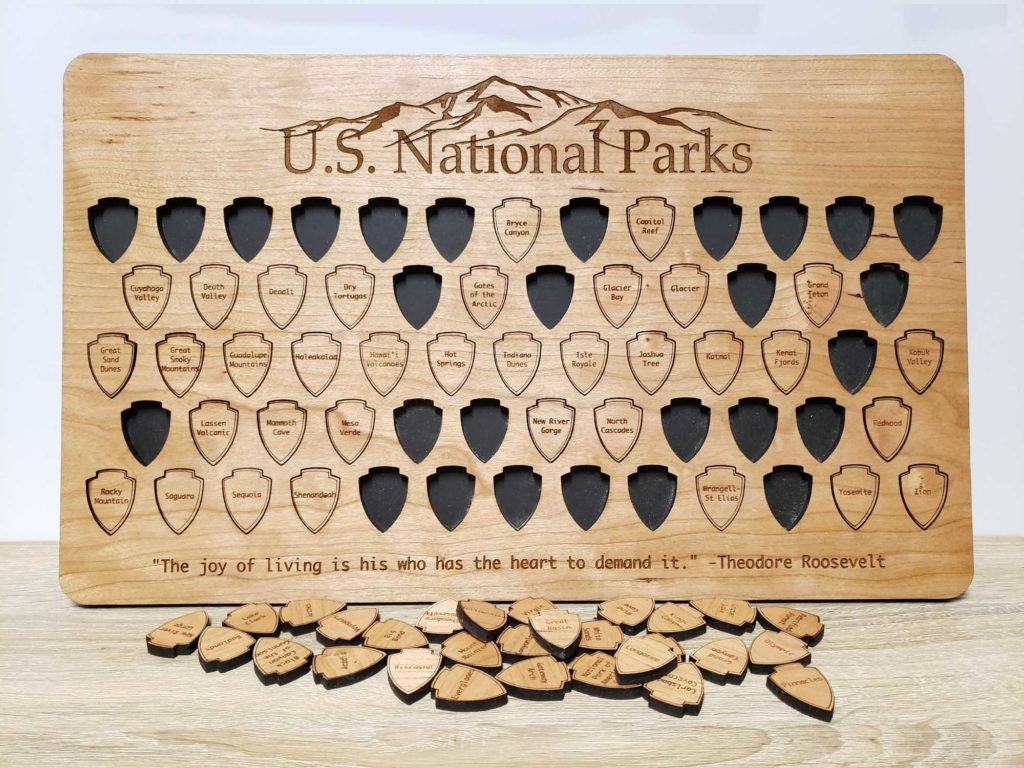 Wooden Puzzle Map Tracker for US National Parks