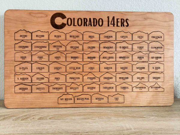 Colorado 14er Peak Tracking bucket list board