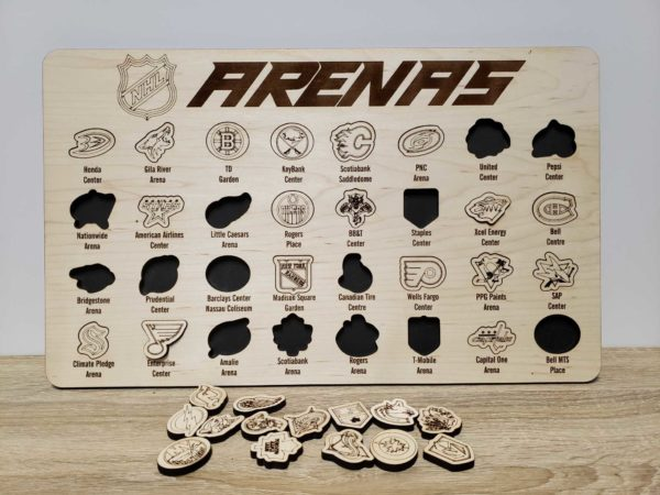 NHL Arenas Tracker Board Ice Rink Stadiums