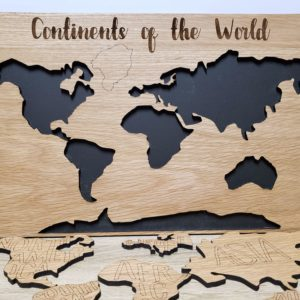 CONTINENTS OF THE WORLD MAP WOOD PUZZLE