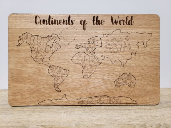 World Continents wood puzzle full