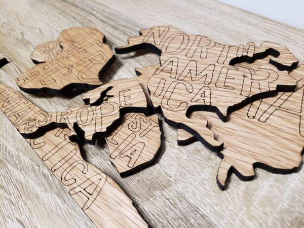 world map pieces cherry