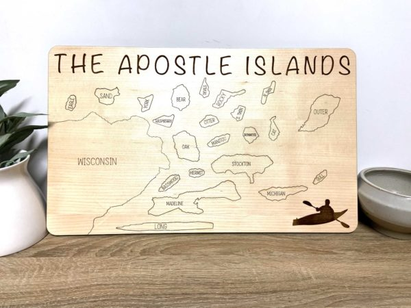 Apostle Islands wooden map