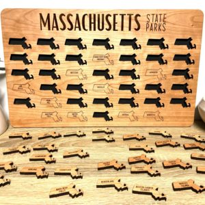 Massachusetts State Parks Wood Map Tracker Puzzle Board